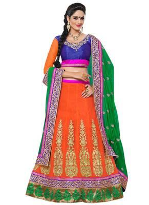 Orange Coloured Georgette Embroidered Lehenga Choli With Dupatta