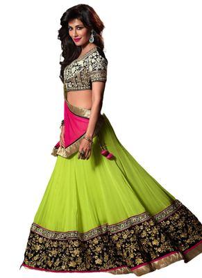 Green Coloured Georgette Embroidered Lehenga Choli With Dupatta