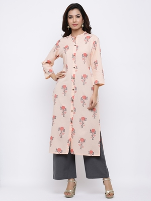 Women's Peach  Cotton Floral Print Straight Kurta & Palazzo Set