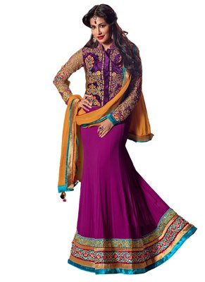 Purple Coloured Georgette Embroidered Lehenga Choli With Dupatta