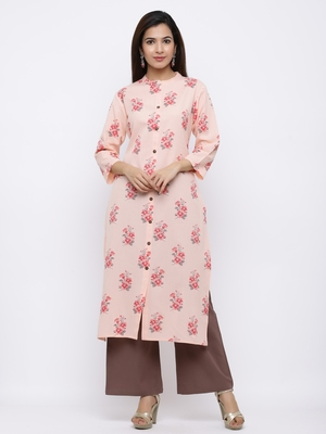 Women's Peach  Cotton Floral Print Straight Kurta & Palazzo Set