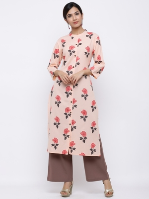Women's Peach  Cotton Flex Floral Print Straight Kurta & Palazzo Set