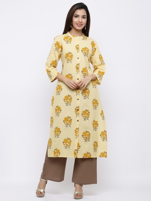 Women's Yellow  Cotton Floral Print Straight Kurta & Palazzo Set