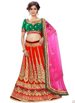 Red Coloured Georgette Embroidered Lehenga Choli With Dupatta
