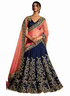 Blue Coloured Dupion Silk Embroidered Lehenga Choli With Dupatta