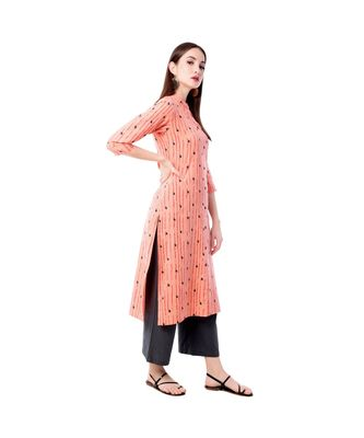 Women's Peach  Cotton Flex Floral Print Straight Kurta & Palazzo Set