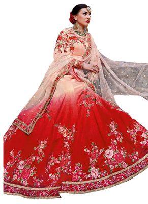 Multi Coloured Dupion Silk Embroidered Lehenga Choli With Dupatta
