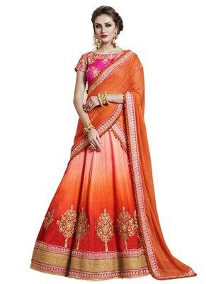 Orange Coloured Dupion Silk Embroidered Lehenga Choli With Dupatta