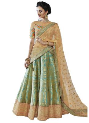 Green Coloured Dupion Silk Embroidered Lehenga Choli With Dupatta