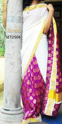 Traditional Kerala Kasavu Saree
