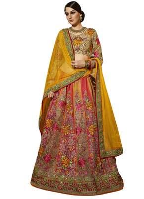 Magenta Coloured Dupion Silk Embroidered Lehenga Choli With Dupatta
