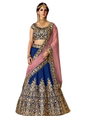 Blue Coloured Dupion Silk Embroidered Lehenga Choli With Dupatta