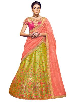 Mehandi Coloured Dupion Silk Embroidered Lehenga Choli With Dupatta