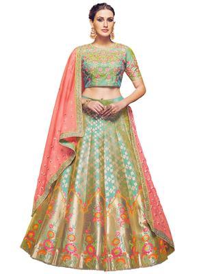 Green Coloured Dupion Silk Embroidered Lehenga Choli With Dupatta