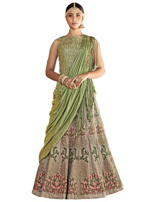 Grey Coloured Dupion Silk Embroidered Lehenga Choli With Dupatta