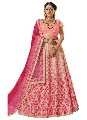 Pink Coloured Dupion Silk Embroidered Lehenga Choli With Dupatta