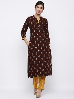 Women's Dark Brown  Cotton Gold Printed Straight Kurta & Palazzo Set