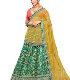 Green Coloured Brocade Embroidered Lehenga Choli With Dupatta