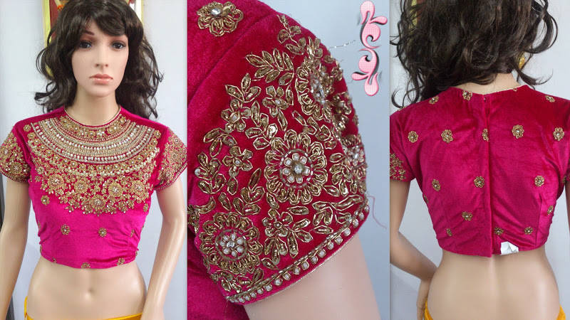 PINK VELVET stitched readymade-blouse - Maruti Creations - 446201 3f42b48434