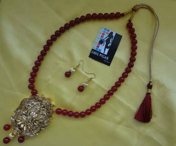 Mahalaxmi pendant necklace set (Red)