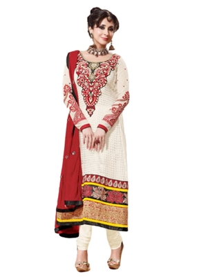 Cream embroidered Georgette unstitched salwar with dupatta