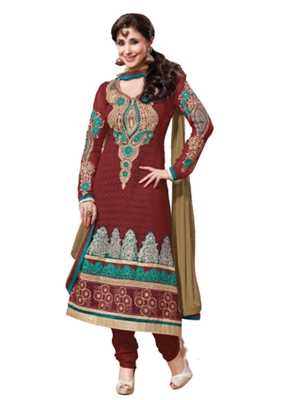 Brown embroidered Georgette unstitched salwar with dupatta