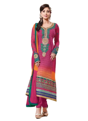 Magenta embroidered Georgette unstitched salwar with dupatta