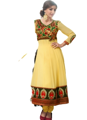 Yellow embroidered Georgette unstitched salwar with dupatta