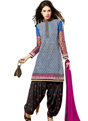 Grey embroidered Crepe unstitched salwar with dupatta