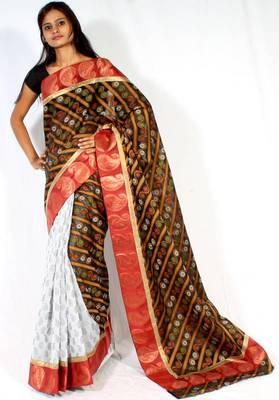 Designer Cotton Silk half half saree
