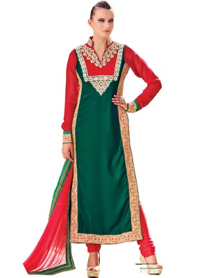 Green embroidered Crepe unstitched salwar with dupatta