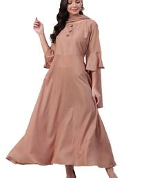 Beige plain satin long-kurtis
