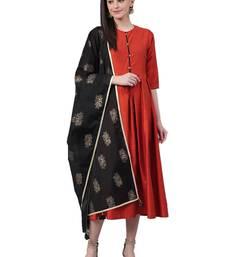 Red plain art silk long-kurtis