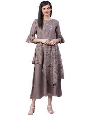 Grey printed art silk long-kurtis