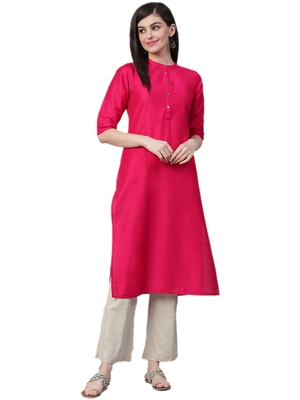 Dark-pink plain art silk ethnic-kurtis