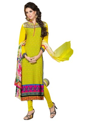 Yellow embroidered Crepe unstitched salwar with dupatta
