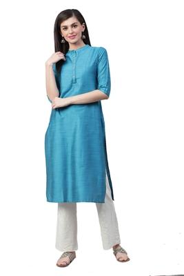 Turquoise plain art silk ethnic-kurtis