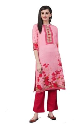 Pink printed liva ethnic-kurtis