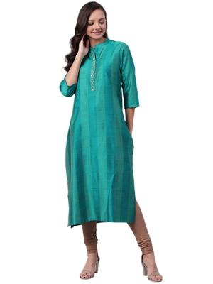 Teal plain art silk ethnic-kurtis