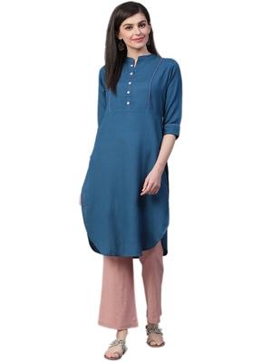Navy-blue plain rayon ethnic-kurtis
