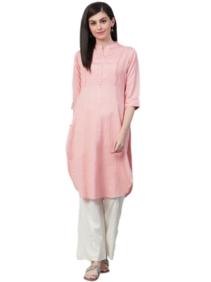 Light-peach plain rayon ethnic-kurtis