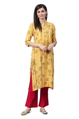 Yellow printed liva ethnic-kurtis