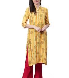 Yellow printed liva ethnic-kurtis