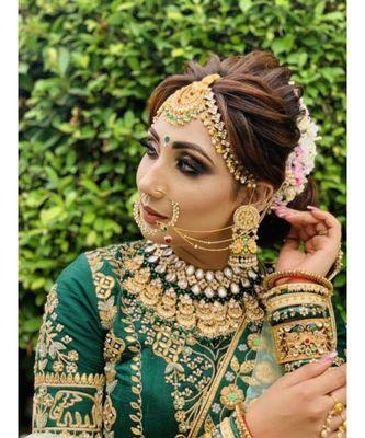 Green Colour Bridal Lahenga Choli Heavy Work