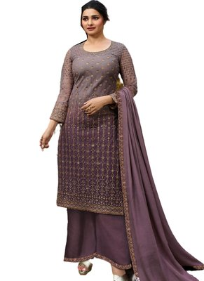 Purple Embroidered Net semi stitched salwar with dupatta