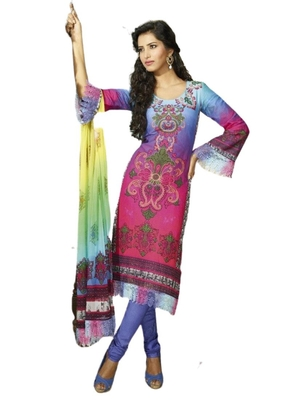 multicolor Printed Crepe semi stitched salwar with dupatta