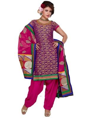 Purple Embroidered Brocade semi stitched salwar with dupatta
