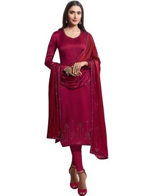 Purple Embelished Satin semi stitched salwar with dupatta