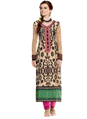 Beige embroidered Georgette unstitched salwar with dupatta