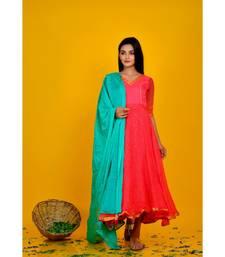 pink bandhani flared dress with green dupata